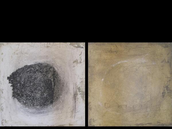 tierra Diptychon, à 50 / 50 cm, 2011, Mischtechnik auf Holz