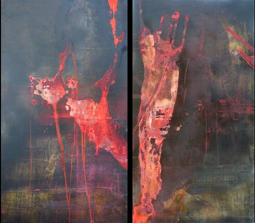 O.T. Diptychon, à 100 /54 cm, 2018, Mischtechnik auf Karton