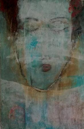 O.T. 60 / 40cm, Acryl auf Holz, Collage