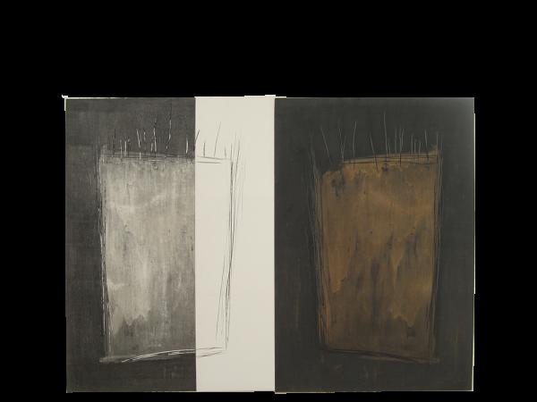 Geteilte Räume 100 / 140 cm, Mischtechnik auf Karton Dyptichon, 2018